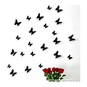 Set 12 autocolante 3D Ambiance Black Butterflies negru