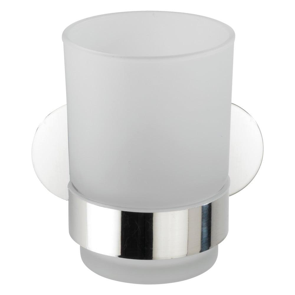 Produktové foto Bílý nástěnný kelímek na kartáčky s držákem z nerezové oceli Wenko Uno Bosio Turbo-Loc®