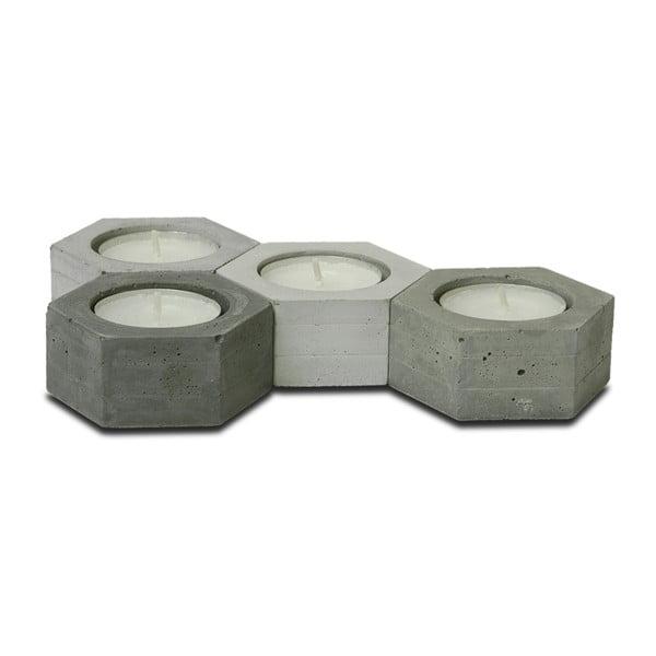Sada 4 betonových svícnů od Jakuba Velínského Hexagon