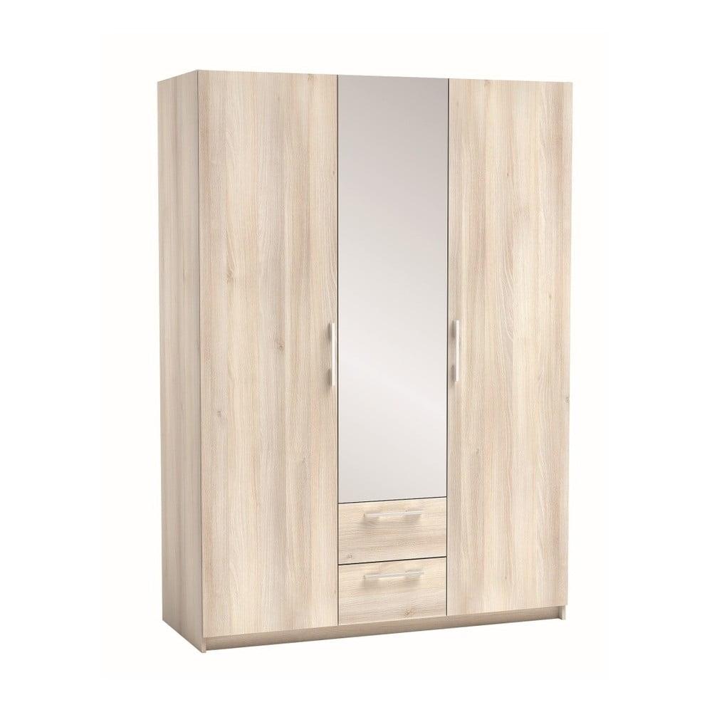 Třídveřová šatní skříň v dekoru akáciového dřeva Saturne