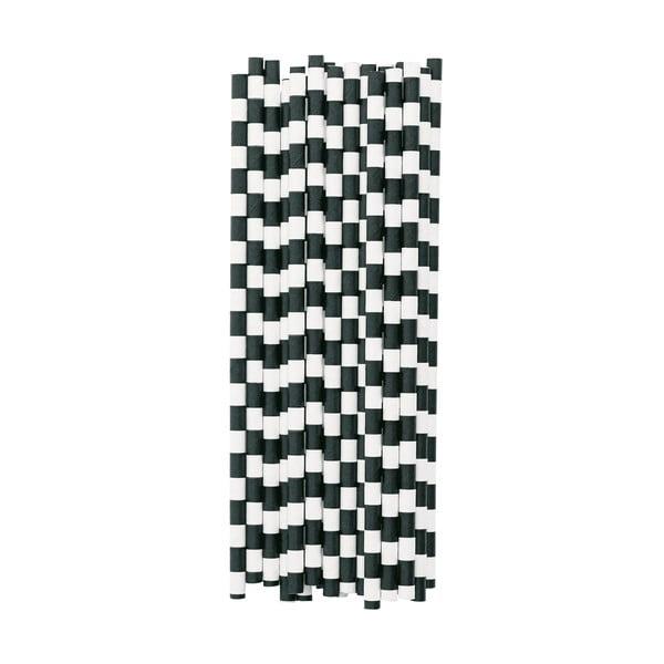 Sada 25 papírových brček Miss Étoile Black Stripes