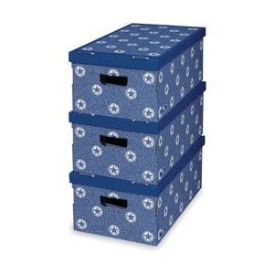 Sada 3 modrých úložných krabic Domopak