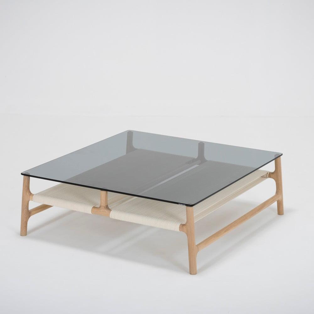 Konferenční stolek s konstrukcí z masivního dubového dřeva a šedou deskou Gazzda Fawn, šířka 90 cm
