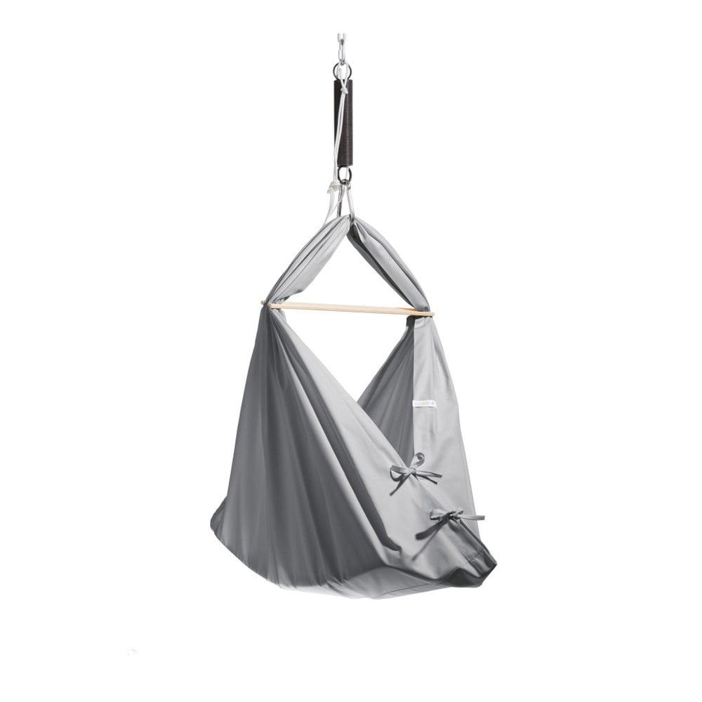 Malá šedá kolébka z bavlny se zavěšením do stropu Hojdavak Baby (0až9 měsíců)