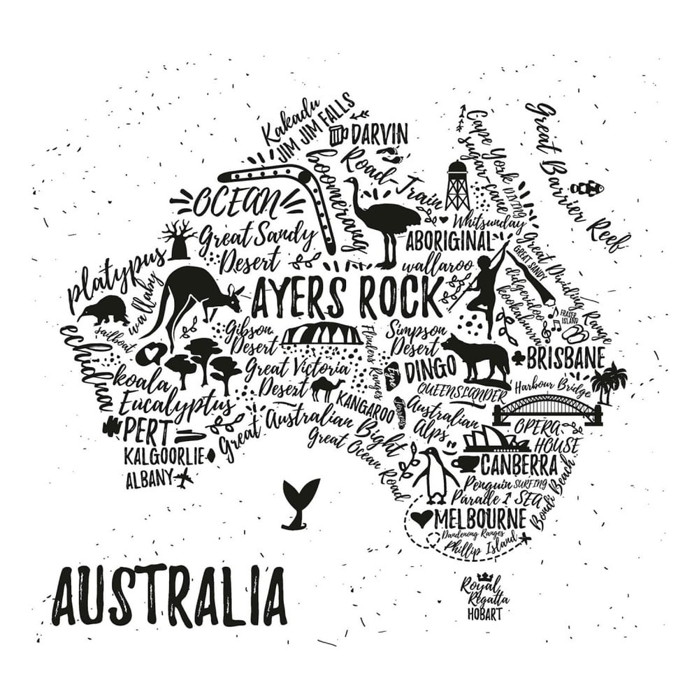 Obraz Homemania Maps Australia Pictures 60 x 60 cm