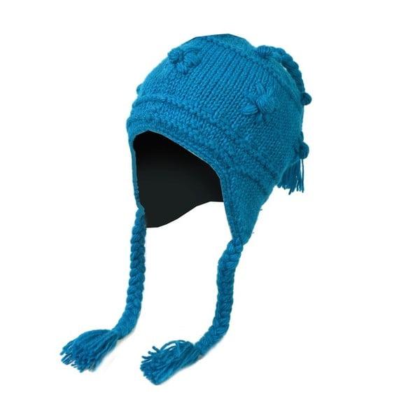 Vlněná čepice s ušima Modrá dekorovaná