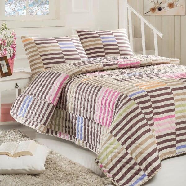 Sada prošívaného přehozu přes postel a  polštáře Zebrano Grey, 160x220 cm