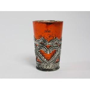 Svícen s patinou Orange Cozy, 11 cm