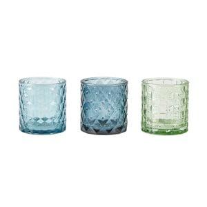 Sada 3 modrých svícnů na čajovou svíčku KJ Collection Glass, 7x7,5cm