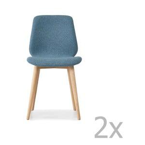 Sada 2 modrých jídelních židlí s nohami z masivního dubového dřeva WOOD AND VISION Cut