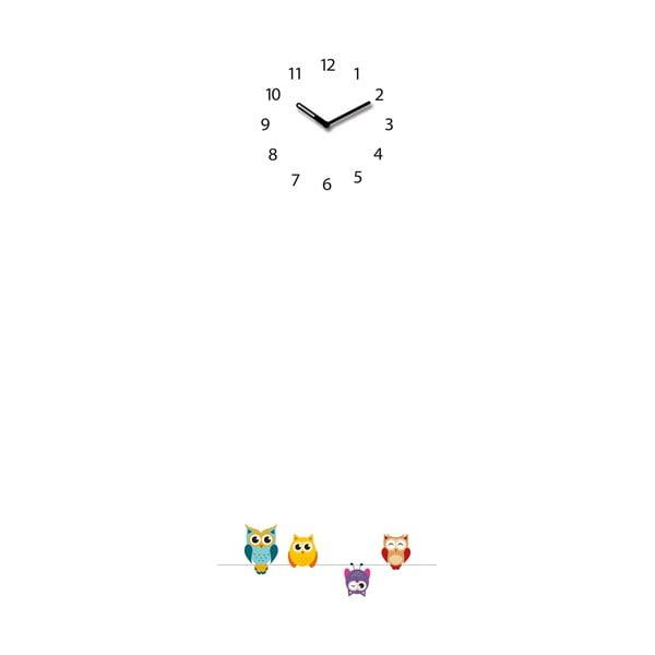 Magnetická tabule s hodinami Eurographic Funny Owls, 30x80cm
