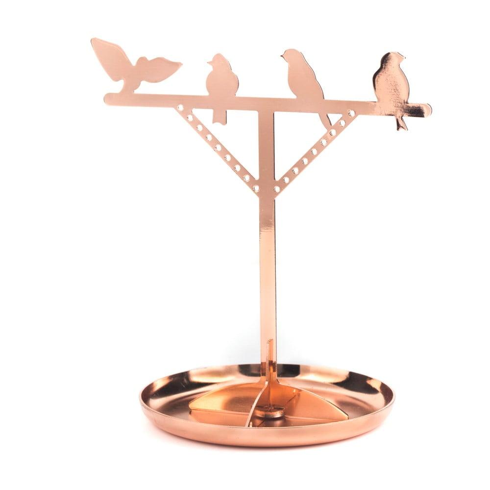 Stojan na šperky v měděné barvě Kikkerland Bird, výška20cm