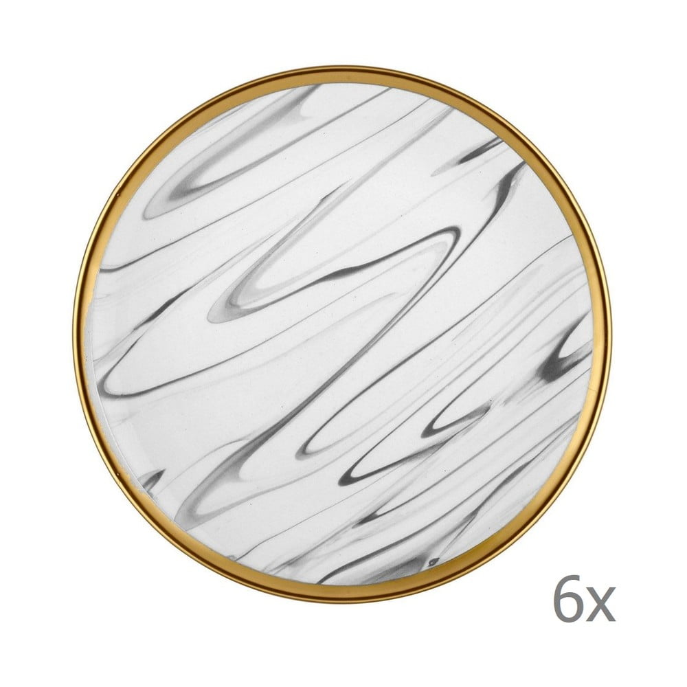 Sada 6 šedo-bílých porcelánových dezertních talířů Mia Lucid, ⌀ 19 cm