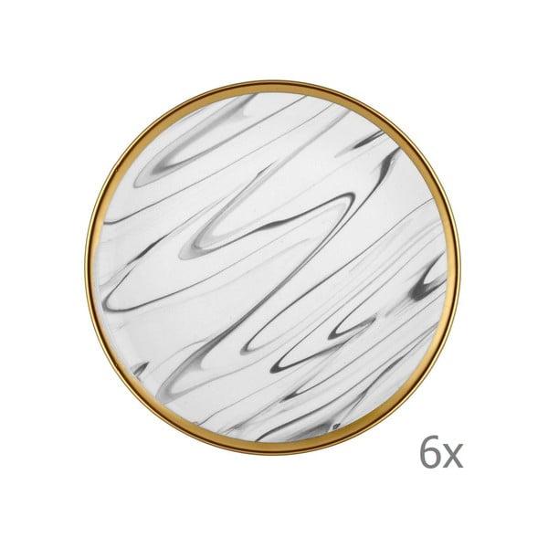 Lucid 6 db-os szürke-fehér porcelán desszertes tányér szett, ⌀ 19 cm - Mia