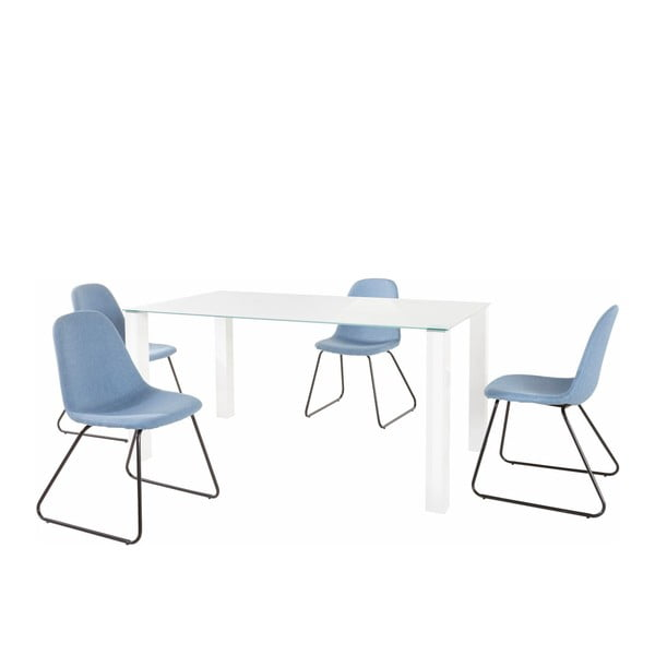 Set bílého jídelního stolu a 4 modrých jídelních židlí Støraa Dante Colombo Duro