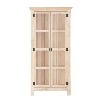 Vitrină dublă din lemn masiv de pin Støraa Marilyn, crem