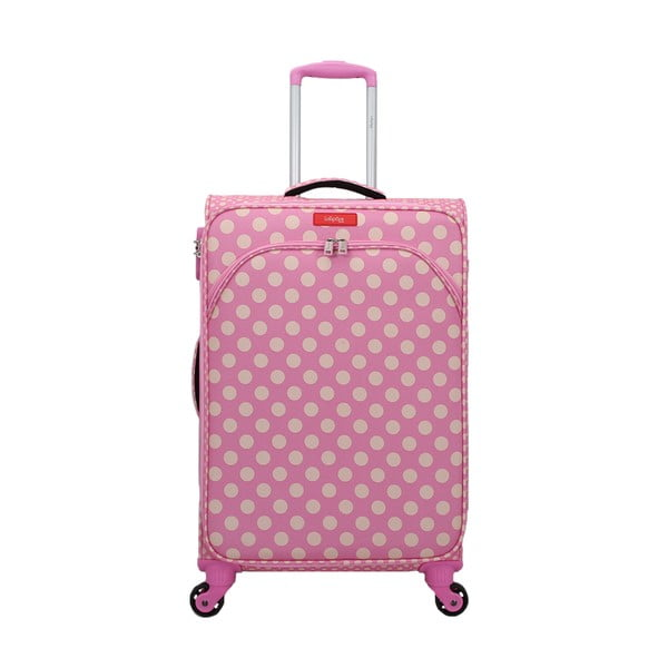 Ružový kufor na 4 kolieskach Lollipops Jenny, výška 67 cm
