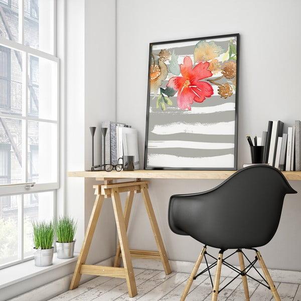Plakát s květinou, šedo-bílé pozadí, 30 x 40 cm