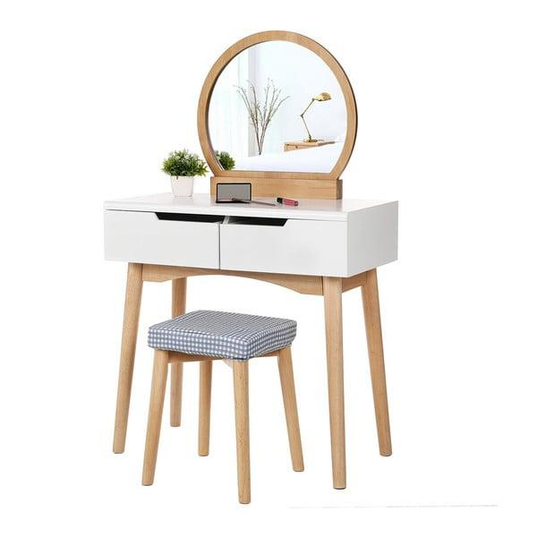 Fa fésülködőasztal tükörrel, ülőkével és 2 fiókkal - Songmics