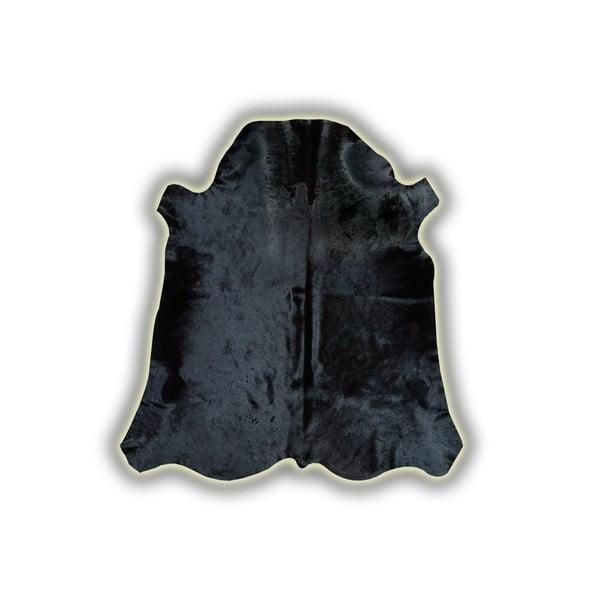 Černá kožená předložka Pipsa Normand Cow, 210x220 cm