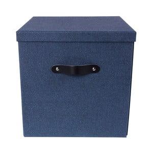 Modrý úložný box na dokumenty s koženým úchytem Bigso, 31,5 x 31 cm