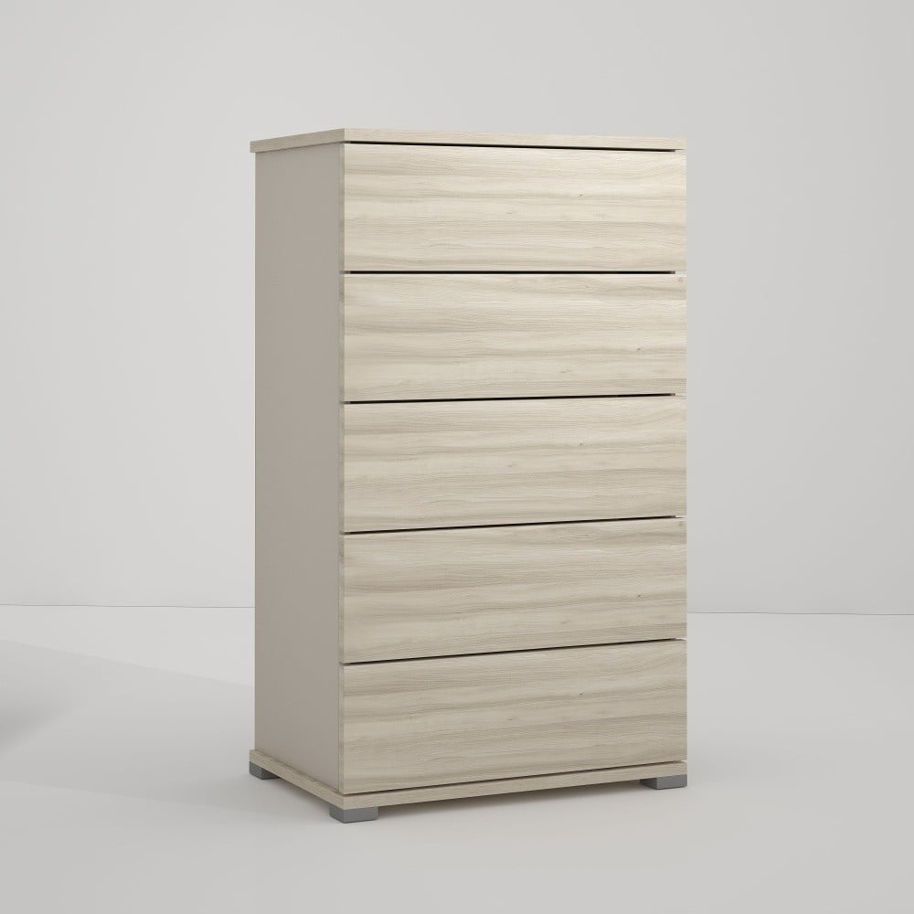 Šedá komoda s 5 zásuvkami v dekoru jilmového dřeva Terraneo