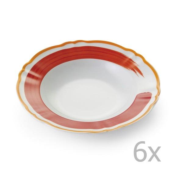 Sada 6 polévkových talířů Giotto Orange/Red