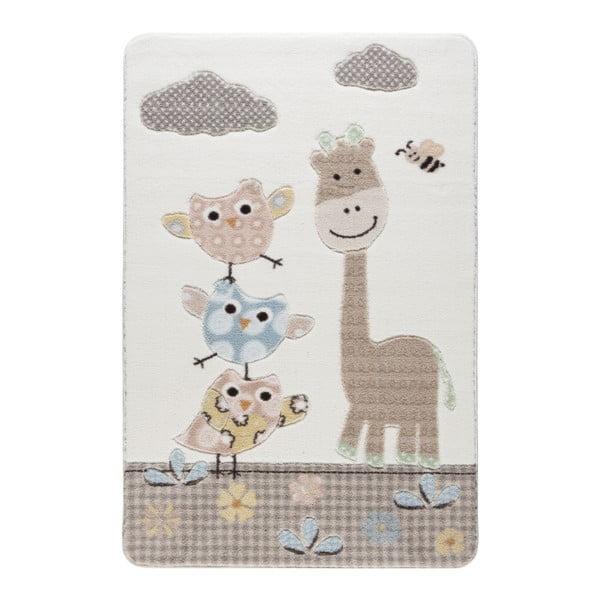 Dětský krémový koberec Confetti Owls, 133x190cm