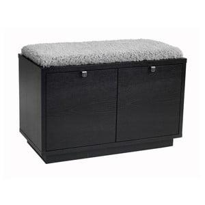 Černá lavice s úložným prostorem a s šedým sedákem Folke Confetti, šířka 70cm