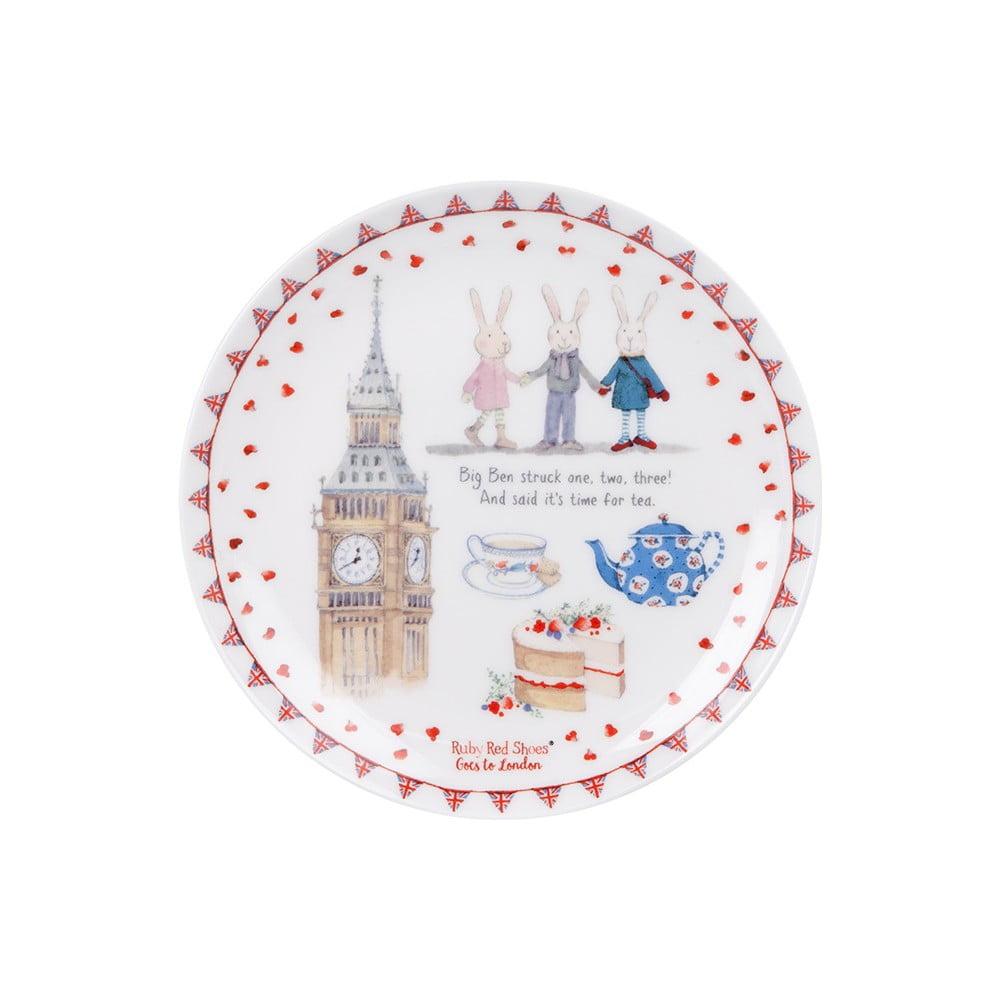 Dezertní talíř z kostního porcelánu Ashdene Ruby Red London Big Ben, ⌀15cm