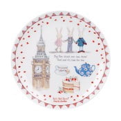 Dezertní talíř z kostního porcelánu Ashdene Ruby Red London Big Ben, ⌀ 15 cm