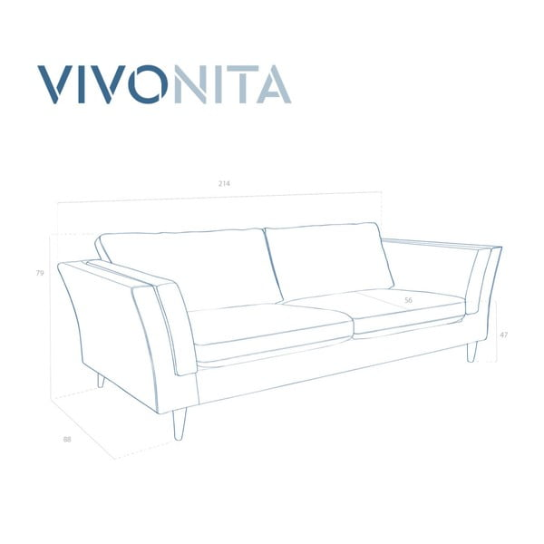 Modrá třímístná pohovka Vivonita Connor