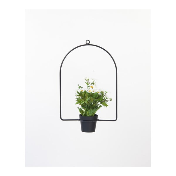 Čierna závesná dekorácia s kvetináčom Surdic Arc, 30×35 cm