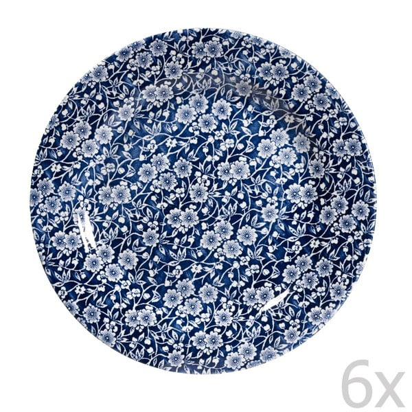 Sada 6 talířů Churchill China Victorian Calico Mint, 26 cm