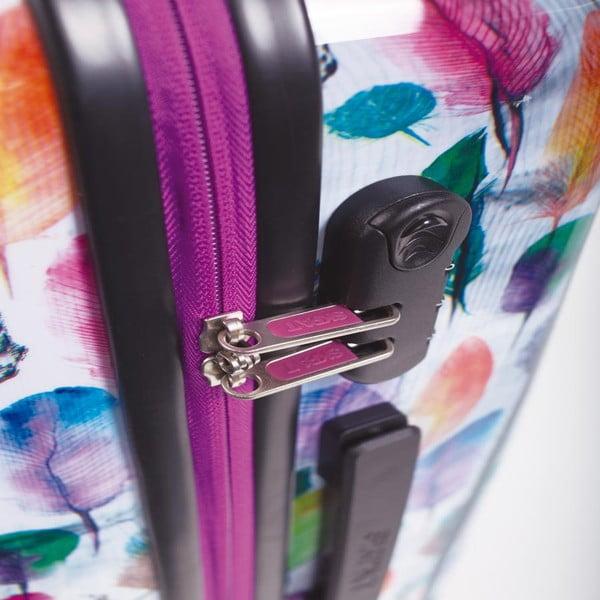 Sada 2 bílých cestovních kufrů s barevnými lístky SKPA-T