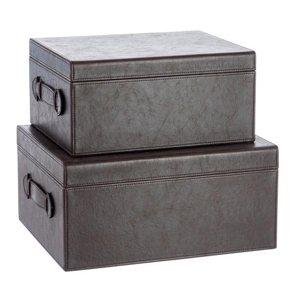 Sada 2 koženkových boxů Leather