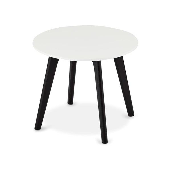Černo-bílý konferenční stolek s nohami z dubového dřeva Furnhouse Life, Ø48cm