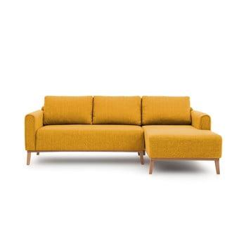 Canapea cu șezlong pe partea dreaptă Vivonita Milton, galben muștar de la Vivonita