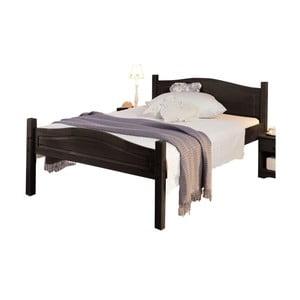 Tmavě hnědá postel z masivního borovicového dřeva Støraa Barney, 160x200cm