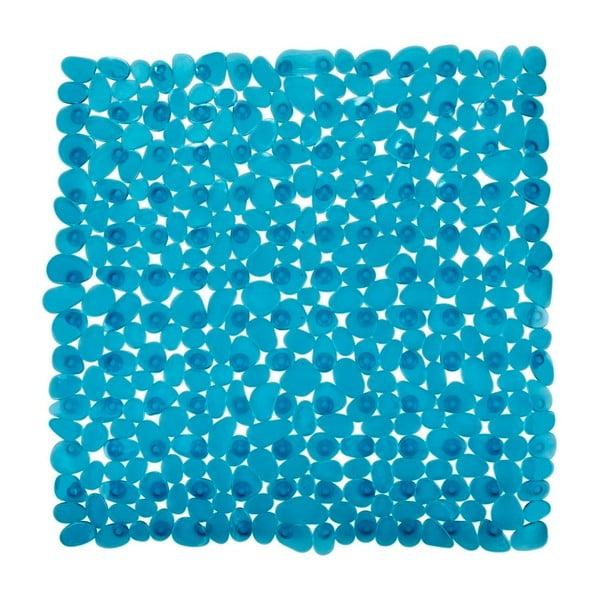 Petrolejově modrá protiskluzová koupelnová podložka Wenko Drop, 54x54cm