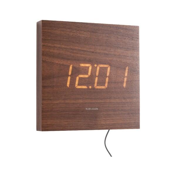 Brązowy zegar ścienny LED Karlsson Square
