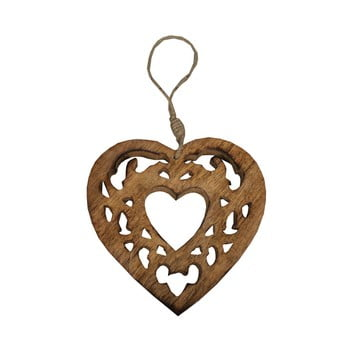 Inimă decorativă din lemn cioplit Antic Line Wood imagine