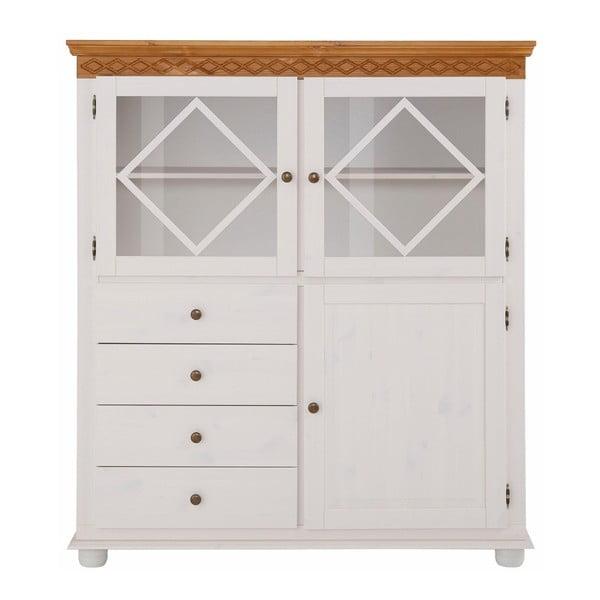 Biała komoda 3-drzwiowa z 4 szufladami z litego drewna sosnowego Støraa Seattle