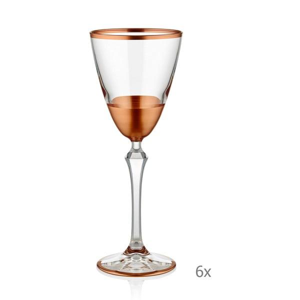 Sada 6 skleniček na sekt Mia Glam Bronze, 200 ml