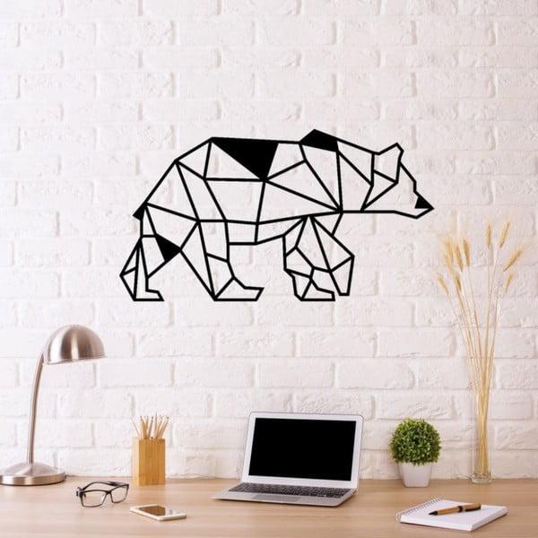 Černá kovová nástěnná dekorace Bear, 50 x 28 cm