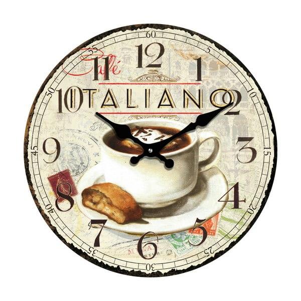 Skleněné hodiny Káva, 30 cm