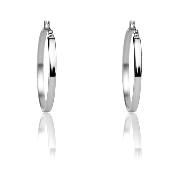 Rebeca ezüstszínű rozsdamentes acél karika fülbevaló - Emily Westwood