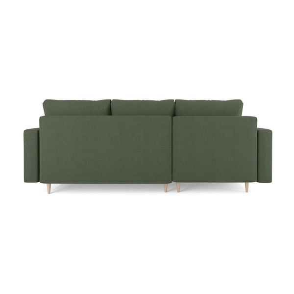 Zelená čtyřmístná rozkládací pohovka s úložným prostorem Mazzini Sofas Aubrieta, levý roh