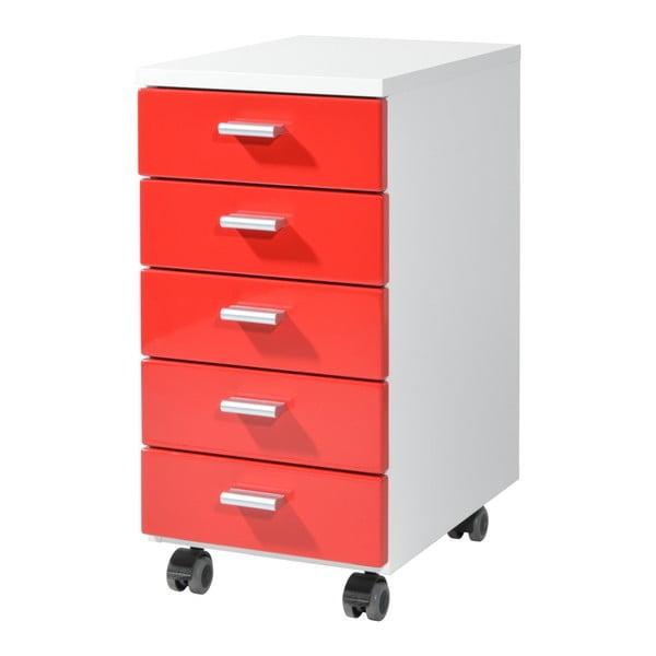 Červená skříňka na kolečkách Germania Rolling, 28 x 57 cm