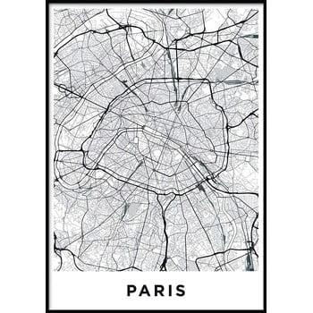 Poster cu ramă pentru perete MAP/PARIS/NO2, 50 x 70 cm